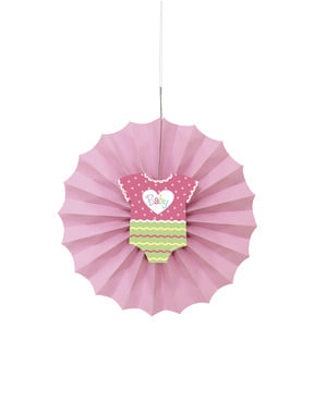 Leque de papel decorativo cor-de-rosa - Baby Shower