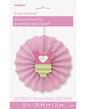 Dekorativní papírový vějíř růžový - Baby Shower
