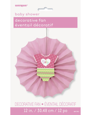 Dekoratívny vejár, rúžová - Baby Shower