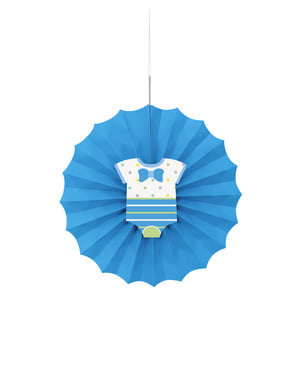 Mavi renkli dekoratif kağıt fanı - Bebek Duşu