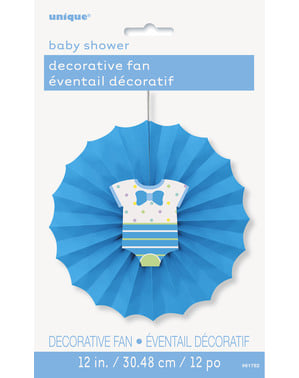Dekorativ papirvifte i blå - Baby Shower