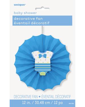 Декоративний вентилятор з паперу синього кольору - Baby Shower