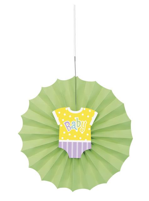 Abanico de papel decorativo verde - Baby Shower
