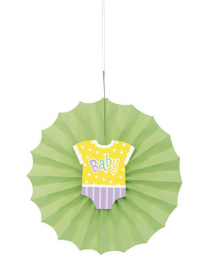 Abanico de papel decorativo verde - Baby Shower