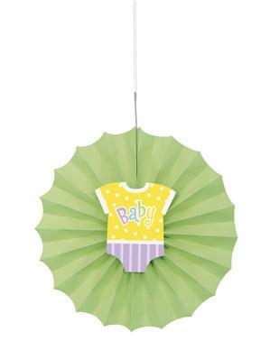 Dekorativní papírový vějíř zelený - Baby Shower