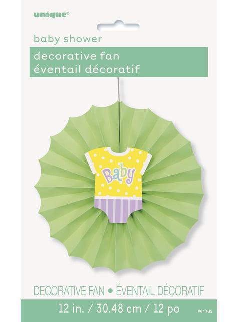 Abanico de papel decorativo verde - Baby Shower - para tus fiestas