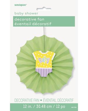 Dekorativ papirvifte i grøn - Baby shower