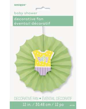 Leque de papel decorativo verde - Baby Shower