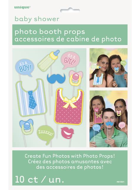 Set de 10 complementos para Photocall Baby Shower