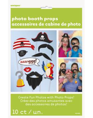 10 accessoires Photo booth pour fête pirate