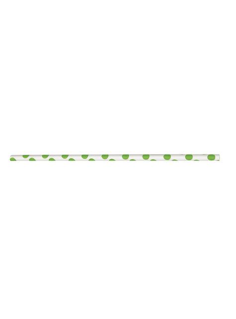 10 pailles à pois vert citron