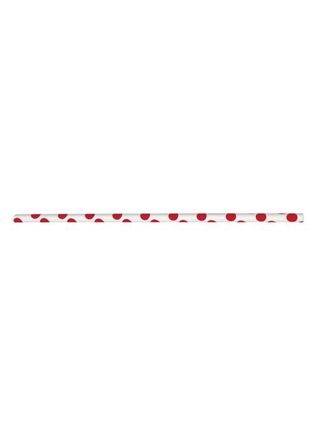 10 pajitas de topos rojos y blancos - para tus fiestas