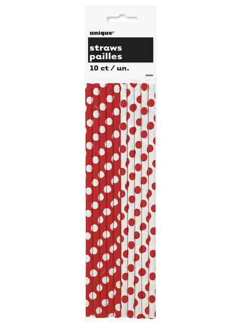 10 pajitas de topos rojos y blancos - barato