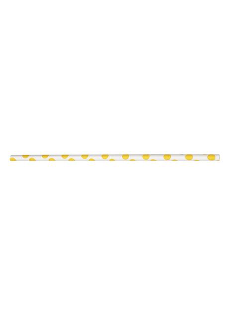 10 pailles à pois jaunes et blancs