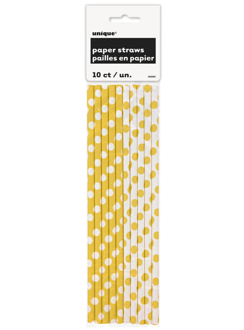10 kpl keltaista pilliä valkoisilla täplillä