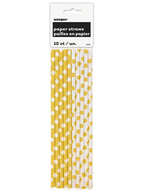 10 pajitas de topos amarillos y blancos