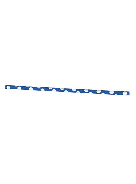 10 pajitas de topos azul oscuro y blanco