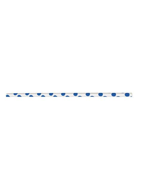 Strohhalm Set mit dunkelblauen und weißen Punkten 10-teilig