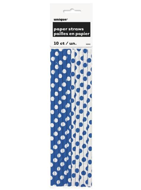 10 pailles à pois bleus foncé et blancs