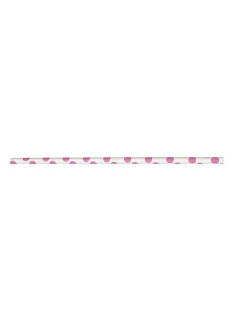10 pailles à pois roses et blancs