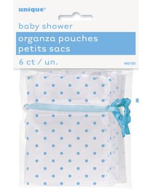 Λευκή Τσάντα με Μπλε Βούλες - Baby Shower