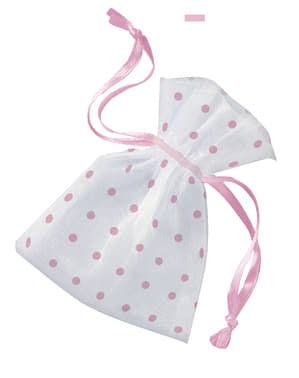 ベビーシャワー 白地にピンクの水玉模様の袋