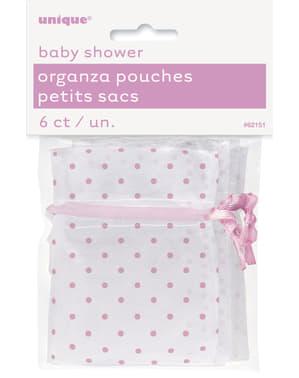 Sachet blanc à pois roses - Baby Shower