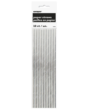 Sæt af 10 sølv sugerør - Basale farver linje