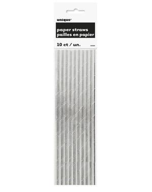 Zestaw 10 srebrnych słomek - Linia kolorów podstawowych