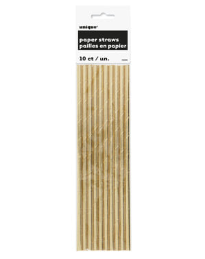 Sæt af 10 guld sugerør - Basale farver linje