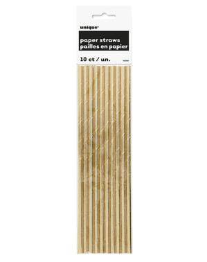 Strohhalm Set gold 10-teilig - Basic-Farben Kollektion