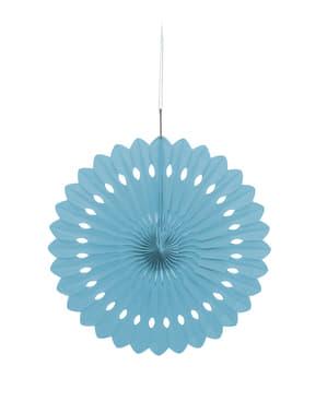 Decoratieve papieren waaier in het hemelsblauw - Basiskleuren collectie