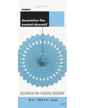 Decorative paper fan in sky blue - Basic Colours Line