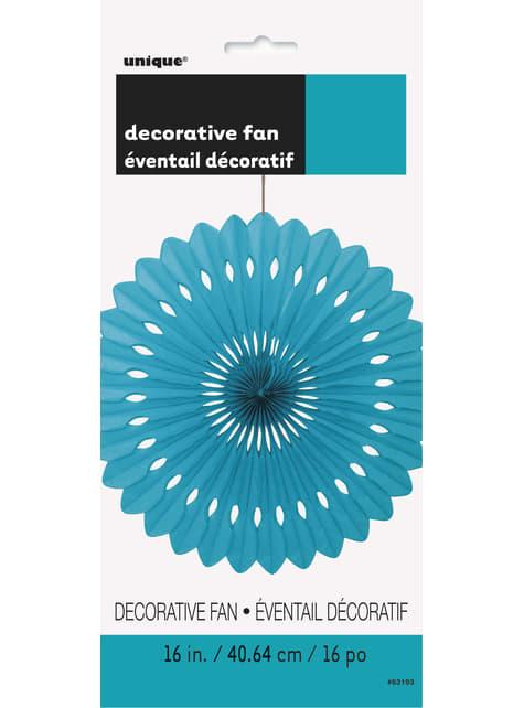 Abanico de papel decorativo verde aguamarina - Línea Colores Básicos - para tus fiestas
