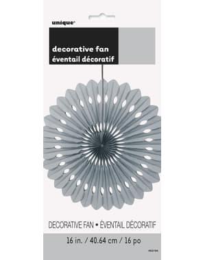 Leque de papel decorativo prateado - Linha Cores Básicas