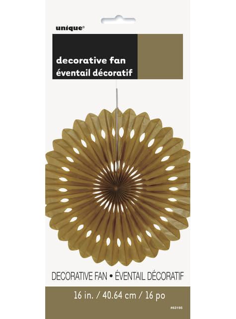 Abanico de papel decorativo dorado - Línea Colores Básicos - para tus fiestas
