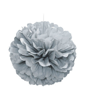Srebrny dekoracyjny pompon – Linia kolorów podstawowych