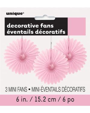 3 Abanicos de papel decorativos rosa claro (15,2 cm) - Línea Colores Básicos