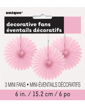 3 decorative paper fans in light pin (15,2 cm) - Basic Colours Line