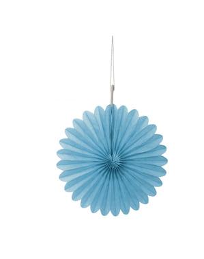 3 Abanicos de papel decorativos azul cielo (15,2 cm) - Línea Colores Básicos