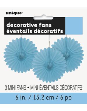 Sada 3 dekoratívnych papierových ventilátorov v nebeskej modrej farbe - Basic Colors Line