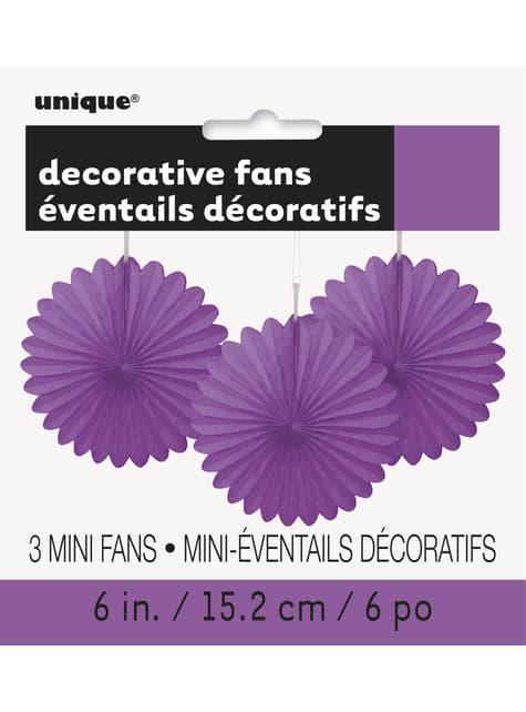 3 Abanicos de papel decorativos morados (15,2 cm) - Línea Colores Básicos - para tus fiestas