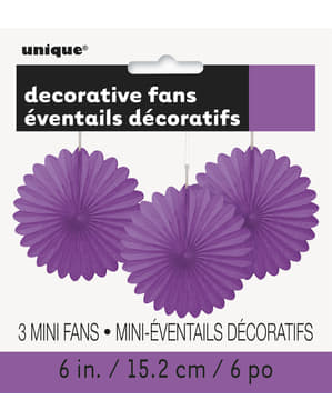 3 Abanicos de papel decorativos morados (15,2 cm) - Línea Colores Básicos