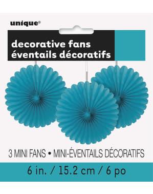 3 Abanicos de papel decorativos aguamarina (15,2 cm) - Línea Colores Básicos