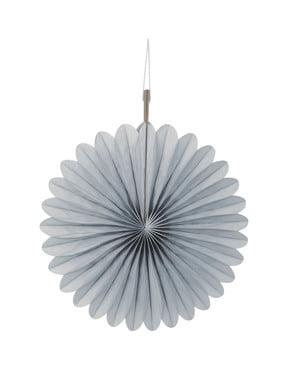 3 Abanicos de papel decorativos plateados (15,2 cm) - Línea Colores Básicos