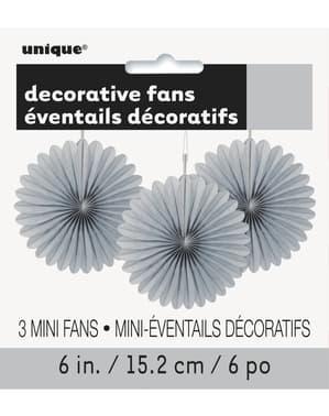 3 Leques de papel decorativos prateado (15,2 cm) - Linha Cores Básicas