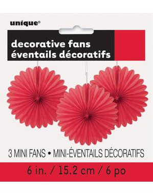 3 Abanicos de papel decorativos rojos (15,2 cm) - Línea Colores Básicos