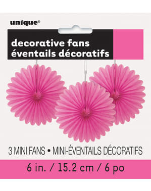 3 Leques de papel decorativos cor-de-ros (15,2 cm) - Linha Cores Básicas
