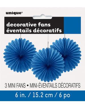 3 Abanicos de papel decorativos azul oscuro (15,2 cm) - Línea Colores Básicos