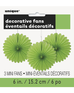 3 Abanicos de papel decorativos verde lima (15,2 cm) - Línea Colores Básicos